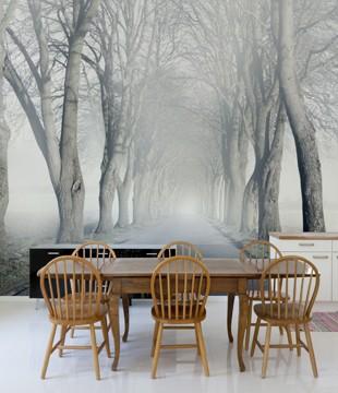 Allée dans le brouillard
