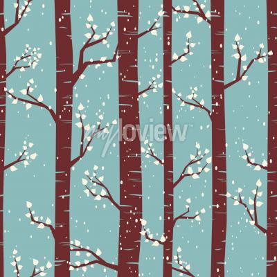 Papiers peints Seamless, carrelage, modèle, bouleaux, sous, neige