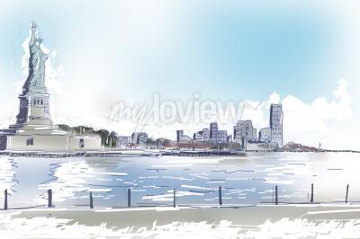 Image Ligne illustration d'art de la statue de la liberté et du centre-ville de New York City sur un jour ensoleillé bleu lumineux. Voyage, tourisme, concept