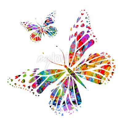 Papiers peints Silhouette, papillon, taches, peinture