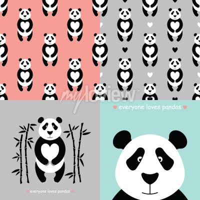 Papiers peints Ensemble ours panda