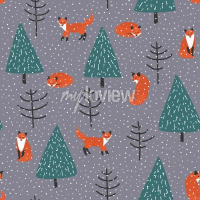 Image Renards, hiver, forêt, vecteur, seamless, modèle