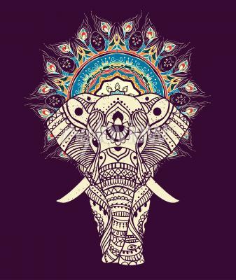 Image Seamless, main, dessiné, carte, éléphant