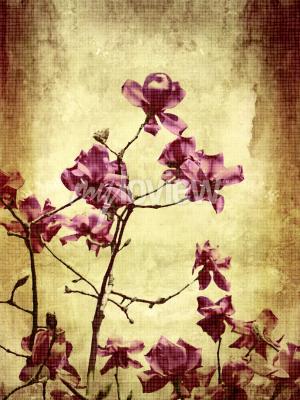 Papiers peints Beau fond grunge avec des fleurs de magnolia