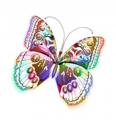 Sticker Papillon isolé coloré