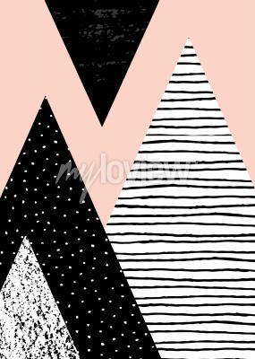Papiers peints Composition géométrique abstraite en noir blanc et rose pastel