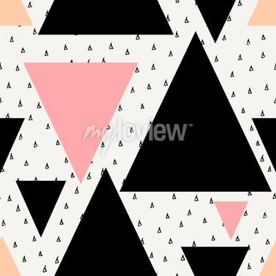 Papiers peints Résumé motif géométrique sans soudure en crème noire rose pastel et orange