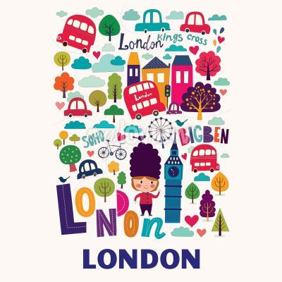 Papiers peints Motif avec les symboles de Londres