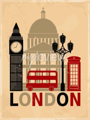 Posters Poster de style rétro avec des symboles et des repères de Londres
