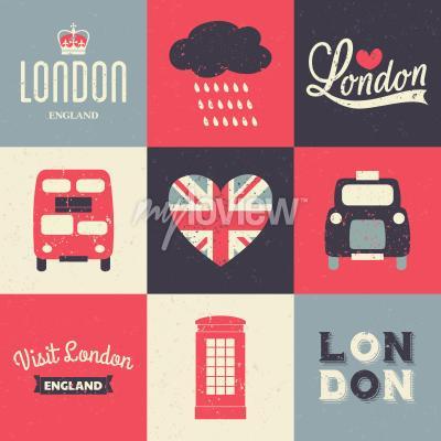 Posters Un ensemble de cartes de voeux de style vintage avec des symboles londoniens