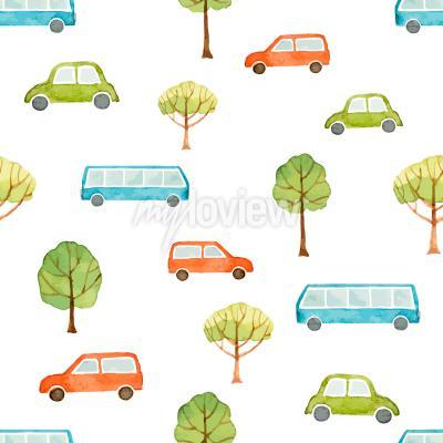 Papiers peints Carrosserie et arbres sans trace de carré aquarelle