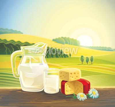 Posters Paysage rural avec ensemble de produits laitiers