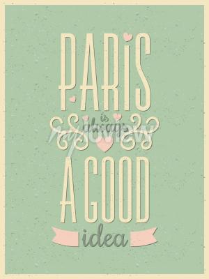 Papiers peints Typographie de style vintage Affiche de Paris