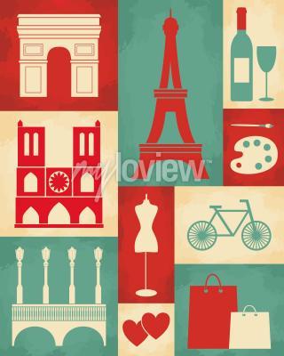 Papiers peints Poster de style rétro avec des symboles et des repères de Paris