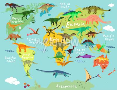 Papiers peints Carte des dinosaures du monde pour les enfants et les enfants