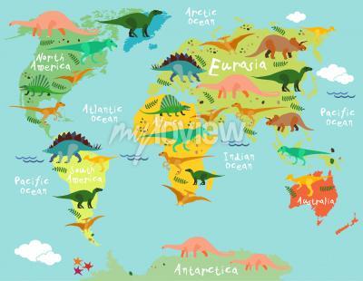 Carte des dinosaures du monde pour les enfants et les enfants