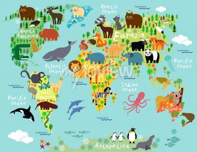 Papiers peints Carte des animaux du monde pour les enfants et les enfants