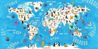 Papiers peints Carte du monde des animaux de dessin animé
