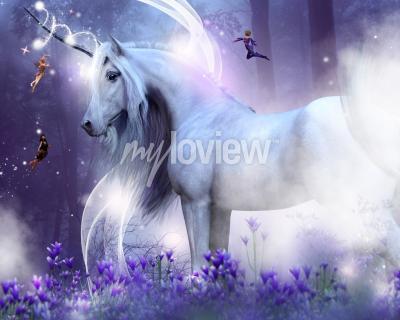 Papiers peints Une licorne majestueuse avec trois petites fées envoyant des étincelles magiques