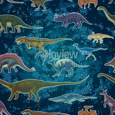 Papiers peints Diplodocus Tyrannosaurus Rex Pterodactylus ... en jacquard sans soudure, illustration vectorielle dessinés à la main
