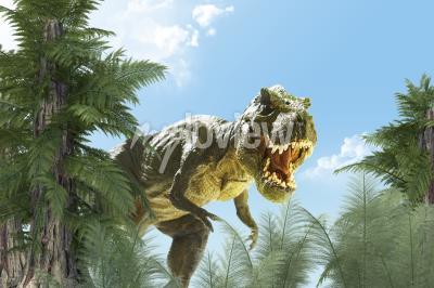 Papiers peints dinosaure dans le rendu 3D de fond de jungle