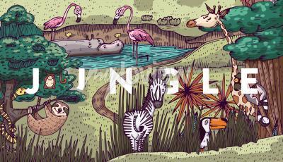 Papiers peints Vie sauvage dans la jungle avec différents animaux