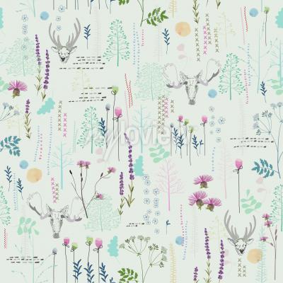 Papiers peints Modèle sans couture avec arbres arbustes feuillage cerf élan animaux sur fond clair dans le style vintage