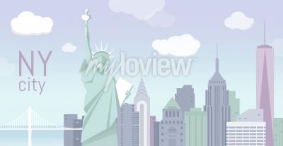Sticker Bâtiments et la statue de la liberté