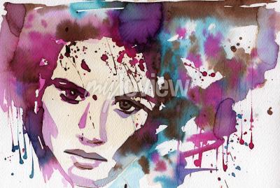 Image Illustration aquarelle pour illustrer le portrait de fantaisie d'une jeune fille.