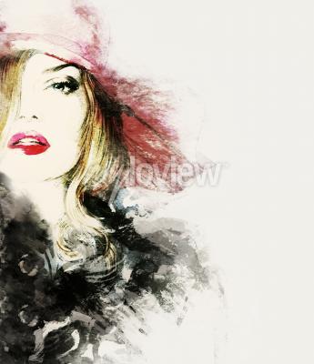 Image Style femme portrait abstrait mode aquarelle illustration