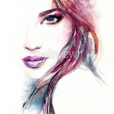 Image Aquarelle de visage femme abstraite