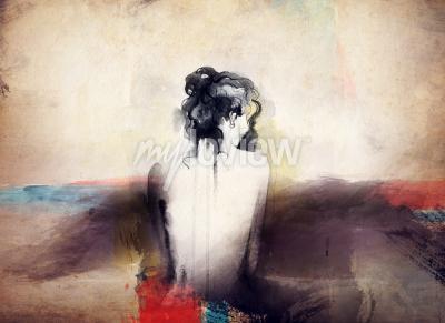 Image Femme portrait abstrait aquarelle