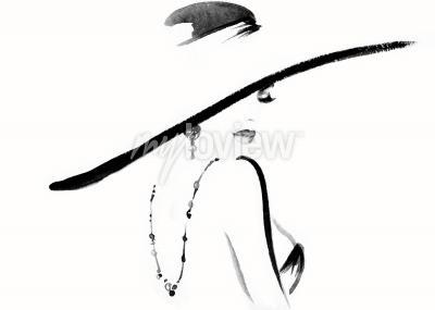 Image Portrait de femme avec illustration de mode chapeau