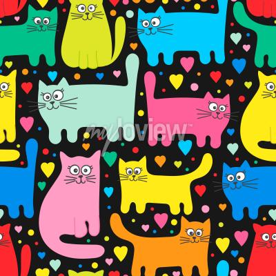Papiers peints Funny kittens and hearts