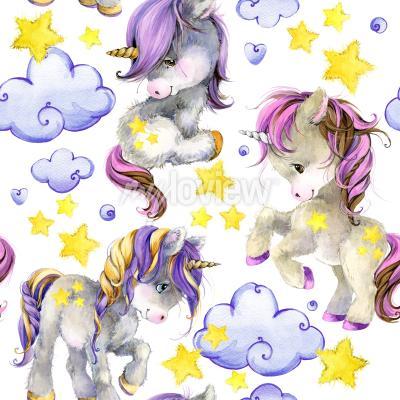 Papiers peints Cute unicorn watercolor seamless pattern