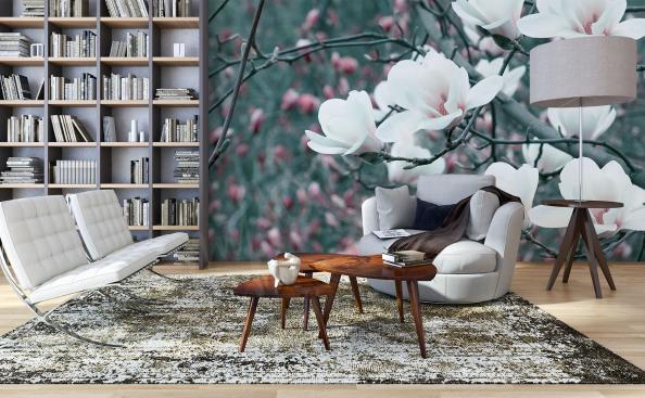 Papier peint fleurs de magnolia blanc