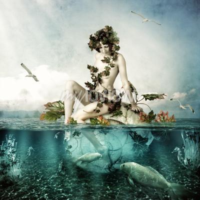 Image Mermaid underwater Beautiful woman seating on a shell in sea or ocean