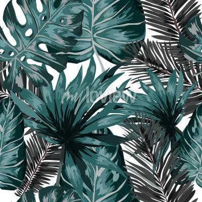 Papiers peints Watercolor seamless pattern with tropical leaves palms monstera passion fruit