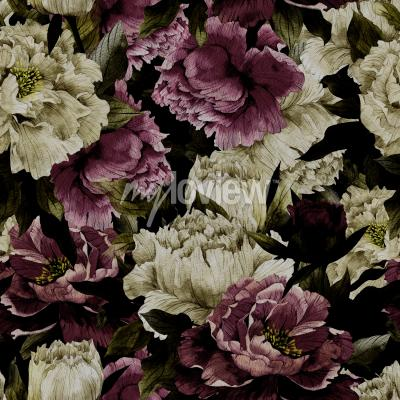 Papiers peints Seamless floral pattern with roses on dark background watercolor