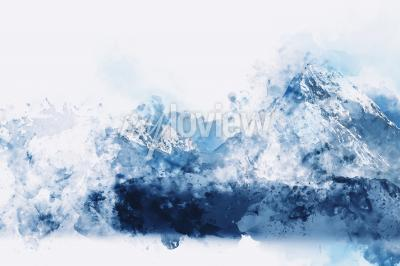 Image Abstract mountains in blue tone digital watercolor painting