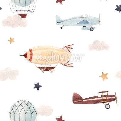 Sticker Plane and cloud seamless pattern