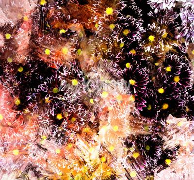 Image Abstract floral composition with small chrysanthemums on grunge striped blurred background