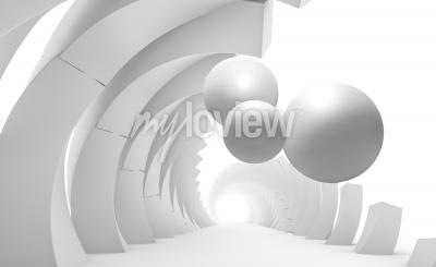 Papiers peints 3d wall tunnel with flying balls 3d rendering