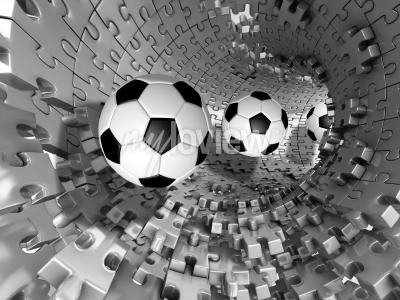 Papiers peints 3d footballs in the tunnel