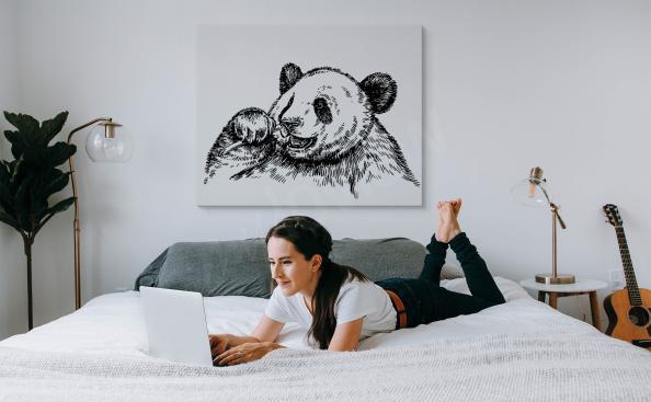 Cuadro panda monocromo