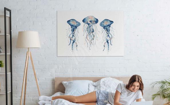 Cuadro acuarela y medusas