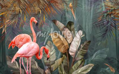 Papiers peints Flamingo background design with tropical palm and banana leaves