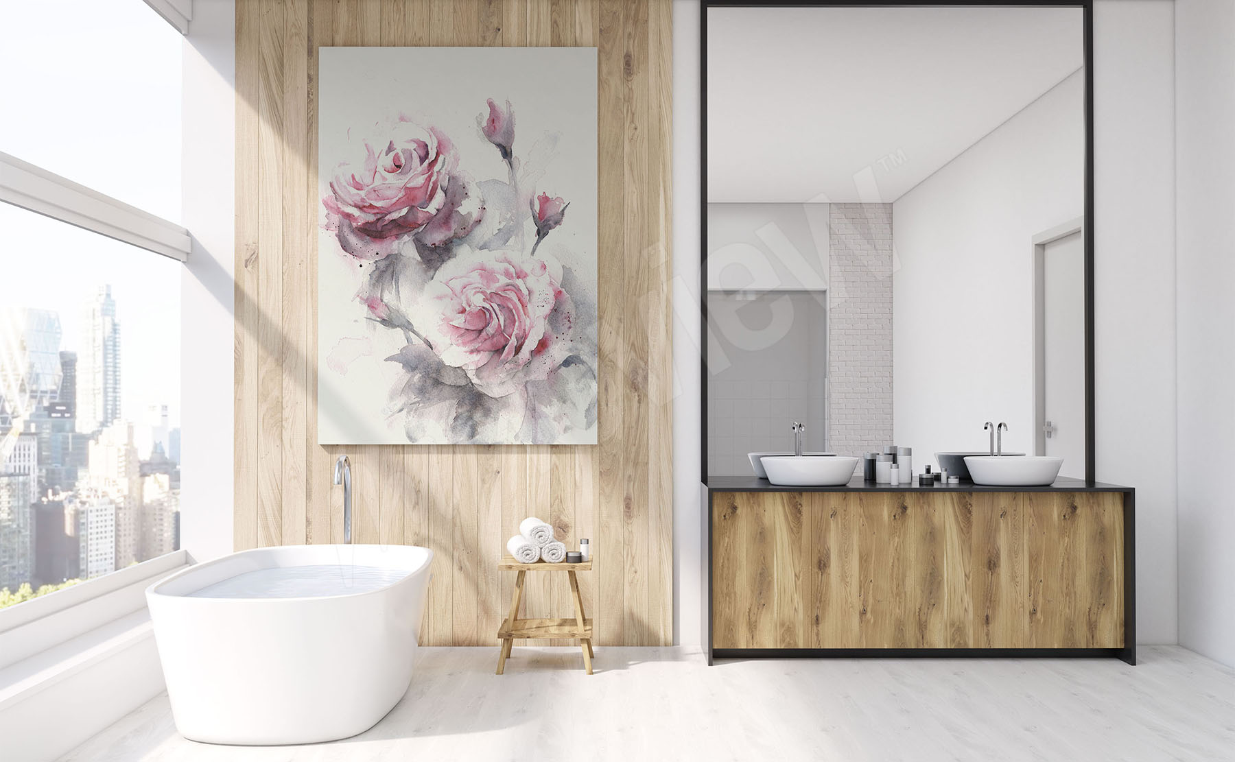 Salle De Bain Motif Fleur ~ images salle de bains mur aux dimensions myloview fr