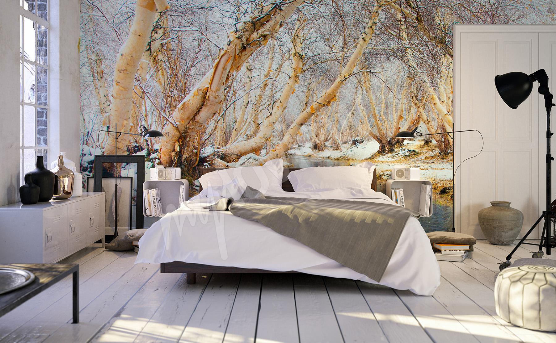papiers peints bouleau mur aux dimensions. Black Bedroom Furniture Sets. Home Design Ideas