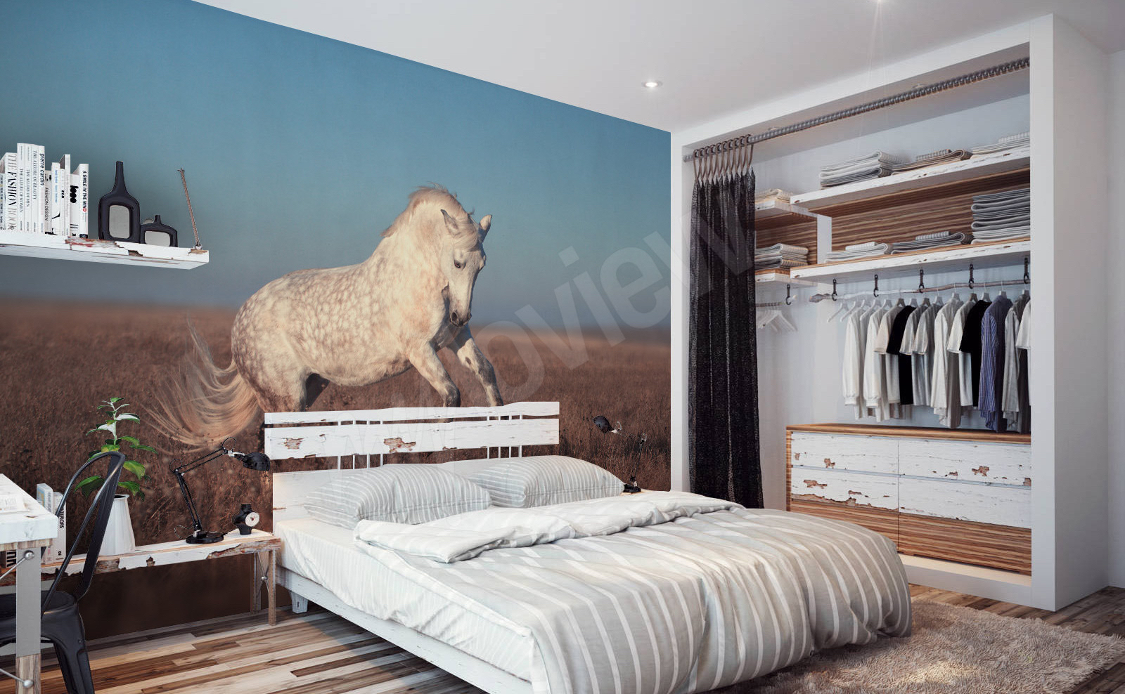 papiers peints chevaux mur aux dimensions. Black Bedroom Furniture Sets. Home Design Ideas